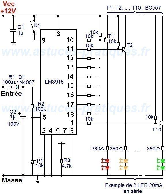 Vumètre à LM3915 et LED de forte puissance