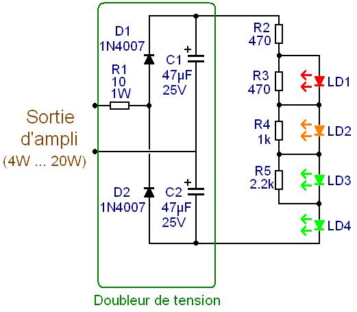 Vumètre audio 4 LED pour ampli 5W