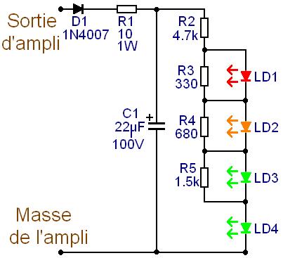 Vumètre audio à 4 LED : schéma du pauvre