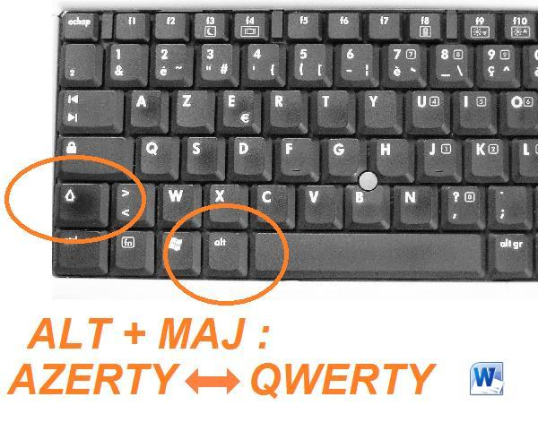 Word : changer clavier qwerty - azerty