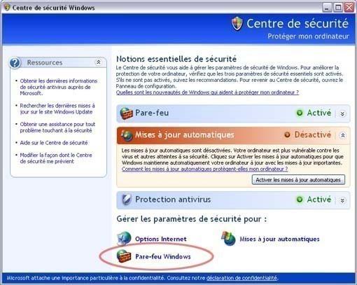 Activer ou desactiver le pare feu ou firewall sur Windows XP 1