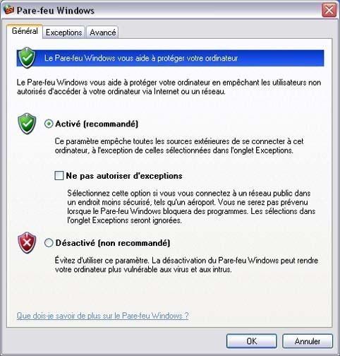 Activer ou desactiver le pare feu ou firewall sur Windows XP 2