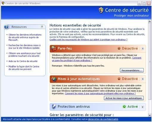 Activer ou desactiver le pare feu ou firewall sur Windows XP 3