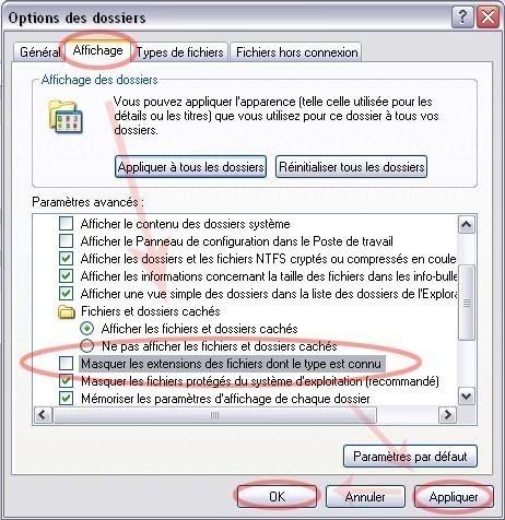 afficher les extansions des fichiers sur windows xp 1