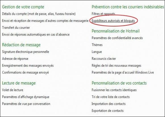 bloquer ou autoriser un expediteur sur hotmail 1