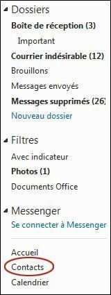 creer et gerer les contacts sur hotmail 1