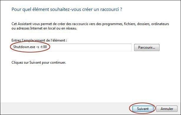 creer un bouton d extinction rapide du pc sur windows 7 1