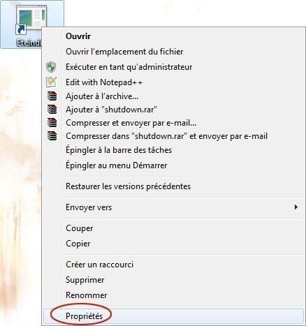 creer un bouton d extinction rapide du pc sur windows 7 3