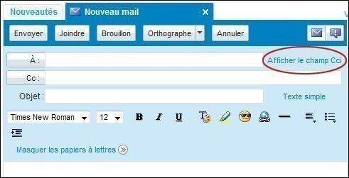 Envoyer un mail en copie carbone invisible sur Yahoo