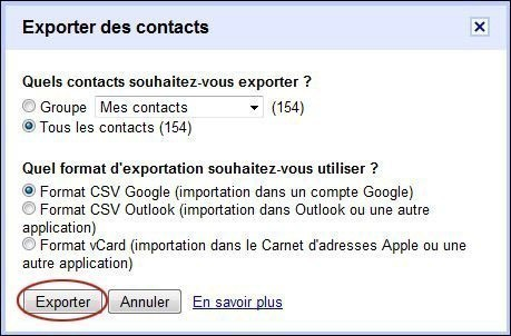exporter vos contacts sur gmail 2