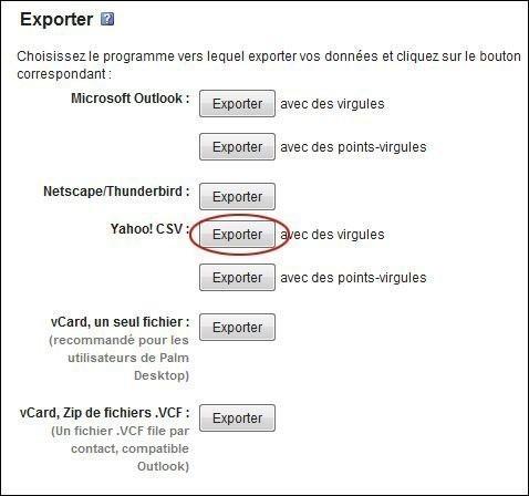 exportez vos contacts sur yahoo mail 2