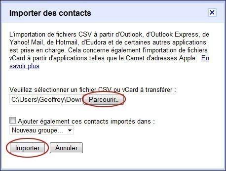 importer des contacts sur gmail 2