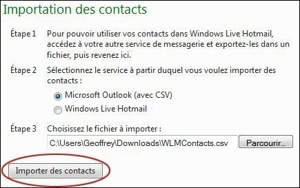 importer des contacts sur hotmail 3