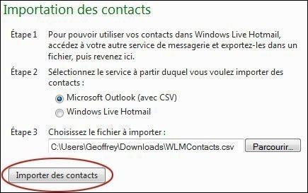 importer des contacts sur hotmail 3