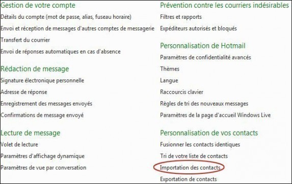 importer des contacts sur hotmail 1