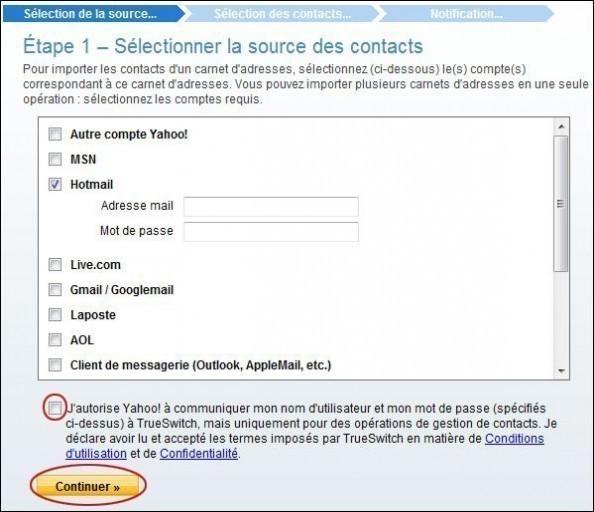 importer des contacts sur yahoo mail 1