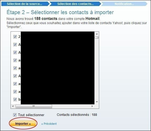 importer des contacts sur yahoo mail 2