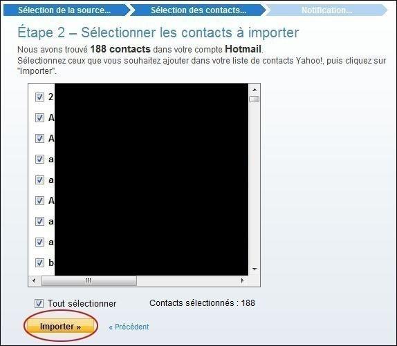 importer des contacts sur yahoo mail 2