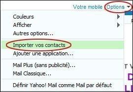 Importer des contacts sur Yahoo Mail
