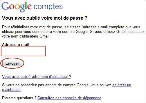 retrouver votre mot de passe gmail 1