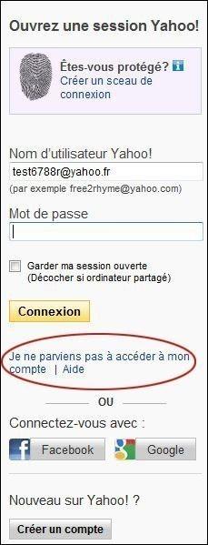 retrouver votre mot de passe yahoo mail 0
