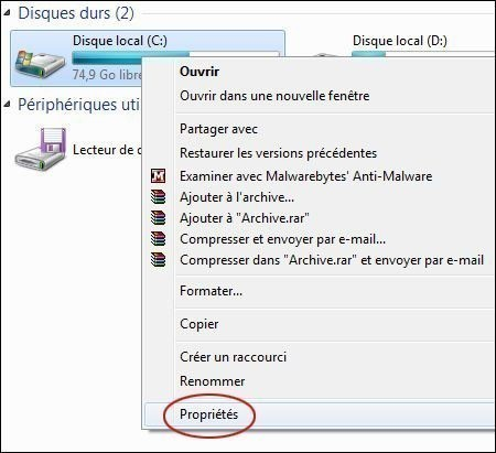 supprimer les points de restauration sur windows 7 1