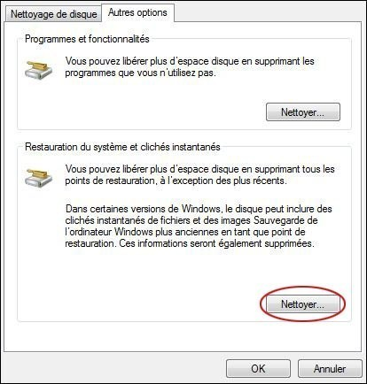 supprimer les points de restauration sur windows 7 4