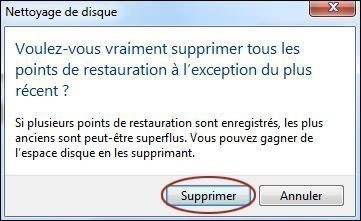 supprimer les points de restauration sur windows 7 5