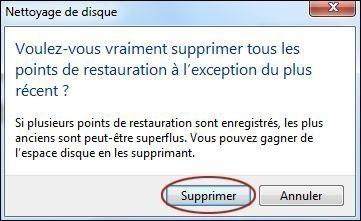 supprimer les points de restauration sur windows 7 5