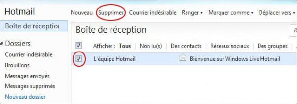 Supprimer ou déplacer un mail sur hotmail