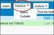 supprimer ou deplacer un mail sur yahoo 1