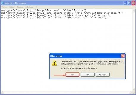 Activer copier coller dans Firefox pour un site Web 6