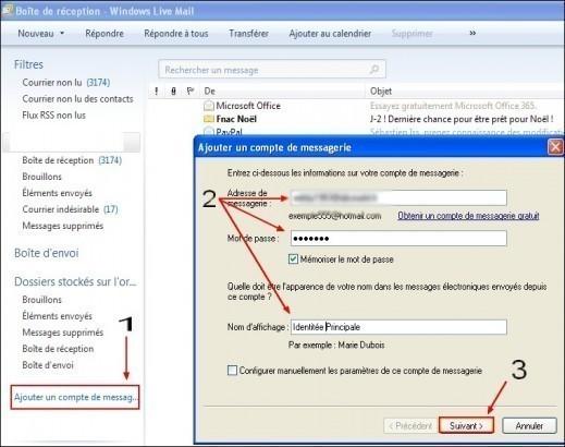 Ajouter un compte de messagerie sous Windows Live Mail