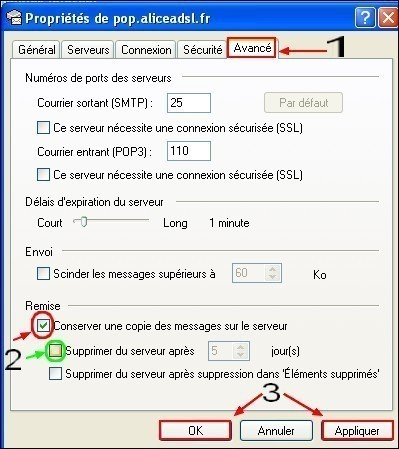 Configurer Outlook Express pour conserver une copie des messages recus 2