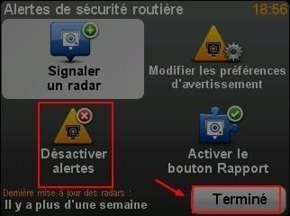 Desactiver les alertes radars dans le GPS TomTom ONE 5