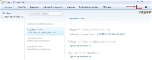 Exporter son carnet d adresses sous Windows Live Mail 1