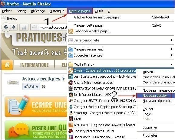Gérer les marques pages dans Firefox
