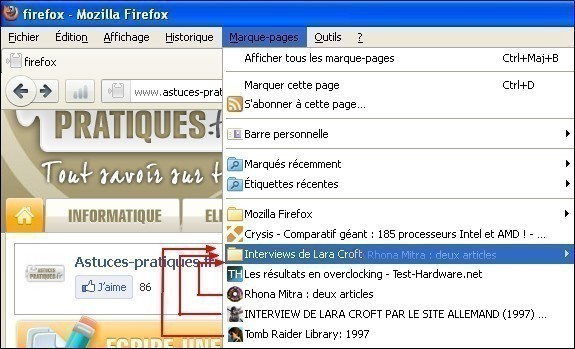 Gerer les marques pages dans Firefox 2