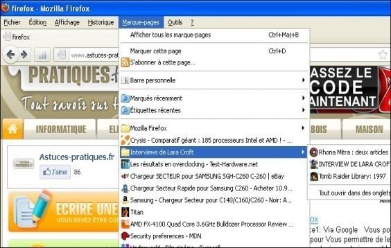 Gerer les marques pages dans Firefox 3