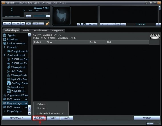 Graver des fichiers mp3 en CD audio avec Winamp 1