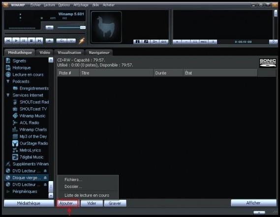 Graver des fichiers mp3 en CD audio avec Winamp 1