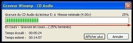 Graver des fichiers mp3 en CD audio avec Winamp 4