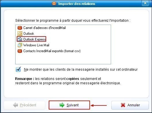 Importer les contacts de Outlook Express dans IncrediMail 1