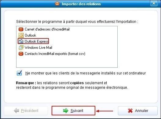 Importer les contacts de Outlook Express dans IncrediMail 1