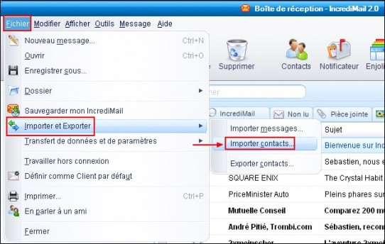 Importer les contacts de Outlook Express dans IncrediMail