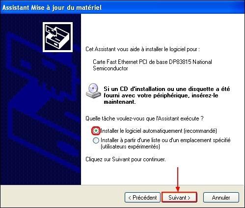 Mettre a jour un pilote carte reseau Windows XP 3