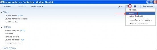 Modifier le dossier de stockage sous Windows Live Mail 8