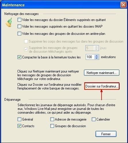 Modifier le dossier de stockage sous Windows Live Mail 2