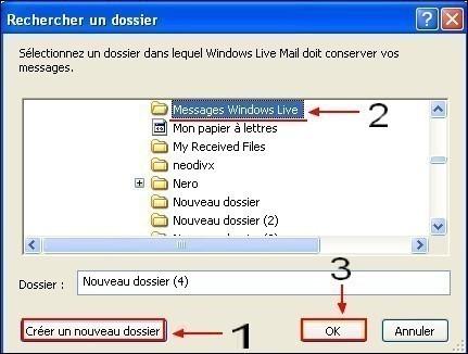 Modifier le dossier de stockage sous Windows Live Mail 4