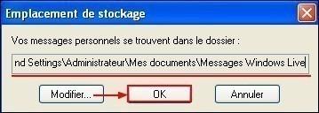 Modifier le dossier de stockage sous Windows Live Mail 5